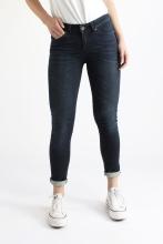 Mid Waist Skinny Jeans - Dark Indigo - KUYICHI